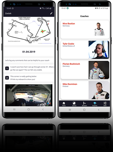 smartphone disolay mit der RaceTrack Coach App